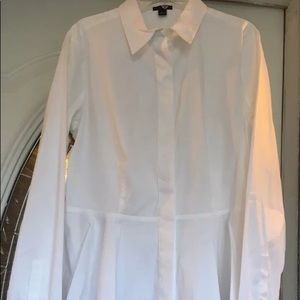 Ann Taylor White Collard Blouse Sz 4